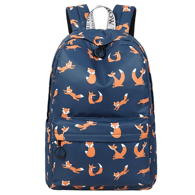 High Quality Waterproof Women School Backpack Cute Fox Pattern Printing Female Travel Daily Laptop Bagpack Kawai Knapsack