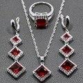 Unique Cuadrado Rojo Granate Pendientes de Gota Largos de Plata de La Joyería/Colgante/Collar/Anillo De Las Mujeres Del Envío regalo TZ37