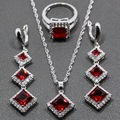 Unique Square Red Garnet Sterling Silver Jewelry Sets Long Drop Earrings/Pendant/Necklace/Ring For Women Free Gift TZ37