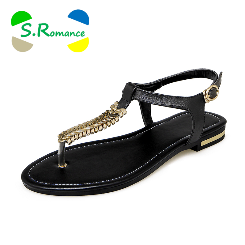 S.romance Shoes Sandals Women Flats Gold Black White Plus-Size Genuine-Leather New-Fashion