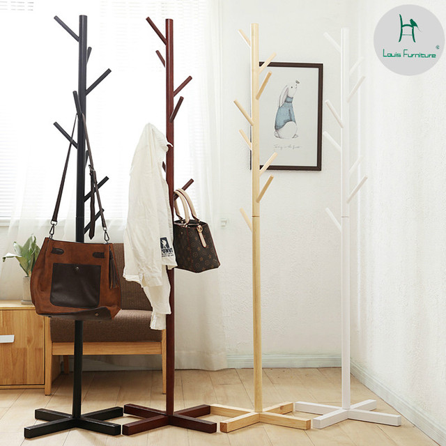 Louis Fashion Coat Racks Solid Wood White Landing Simple Modern Clothes  Rack Bedroom Creative Household Single