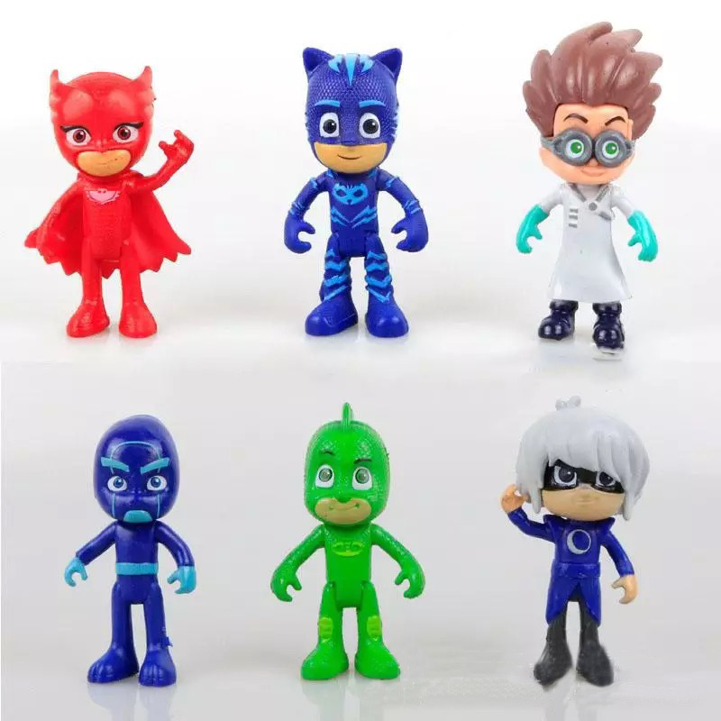 HaveFun 6pcs/set Hot Anime Figures pj mask Character Catboy Owlette Gekko Action Figures Toys Boy Birthday Gift dropshipping pj cartoon pj masks command center car parking toy lot car characters catboy owlette gekko masked figure toys kids party gift