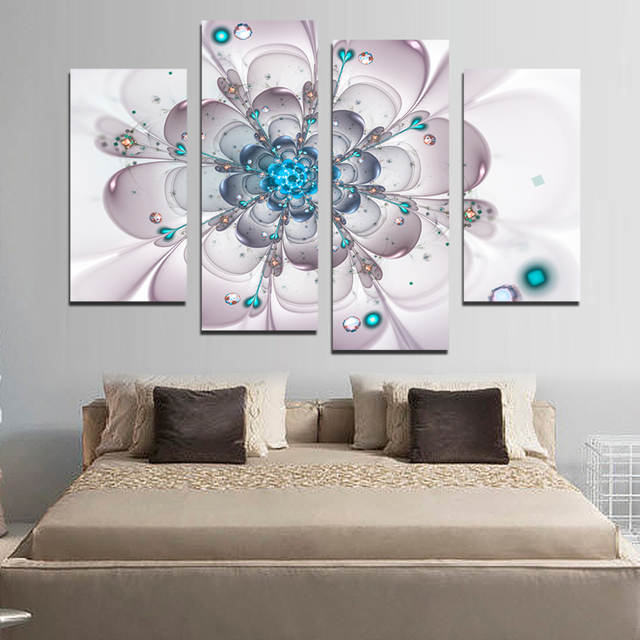 4PCS Canvas Painting Flower Simple Cute Paintings For Living Room Such Beauty Picture On The Wall