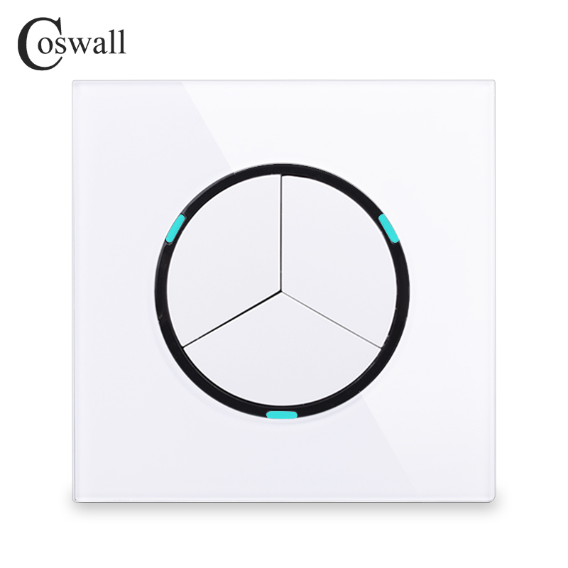 Coswall 2018 New Arrival 3 Gang 2 Way Random Click Push Button Wall Light Switch With LED Indicator Crystal Glass Panel цена