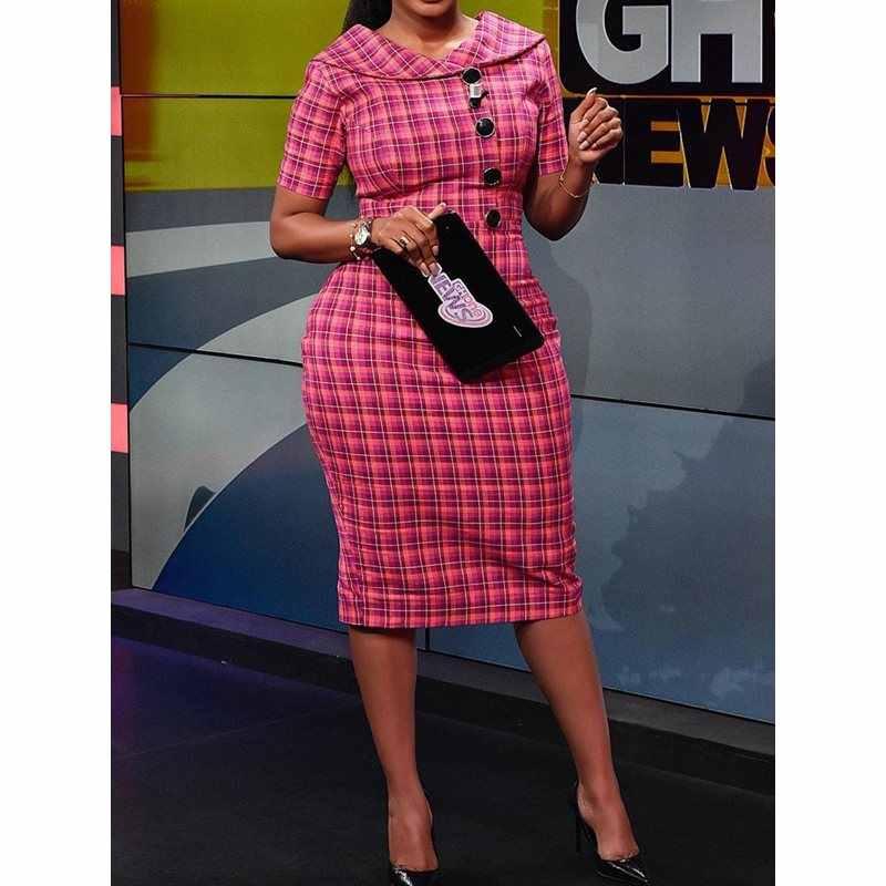 Clocolor клетчатые платья с принтом, Женские винтажные облегающие платья с высокой талией, элегантные платья с отложным воротником для работы, тонкое летнее повседневное офисное платье