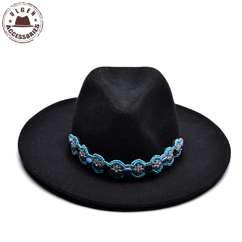 9b4fc82d067 Ulgen Design Chapeu Wool Bowler Ladies Church Hats Black Stetson Fedora Hat  with cool band Women s Dignity Retro Cap-in Fedoras from Apparel  Accessories on ...