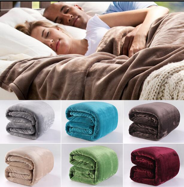 150 200cm Fleece C Sofa Towel Blanket Solid Sheets Single Bed Cover Whole Fg058 In Blankets From Home Garden On
