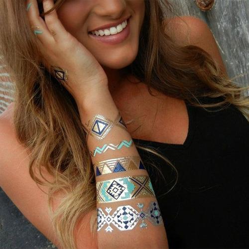New Metal gold tattoo stickers glitter tatoo Inspired Gold Silver Metallic Stickers tattooTemporary Tattoo Flash Tattoos Jewelry