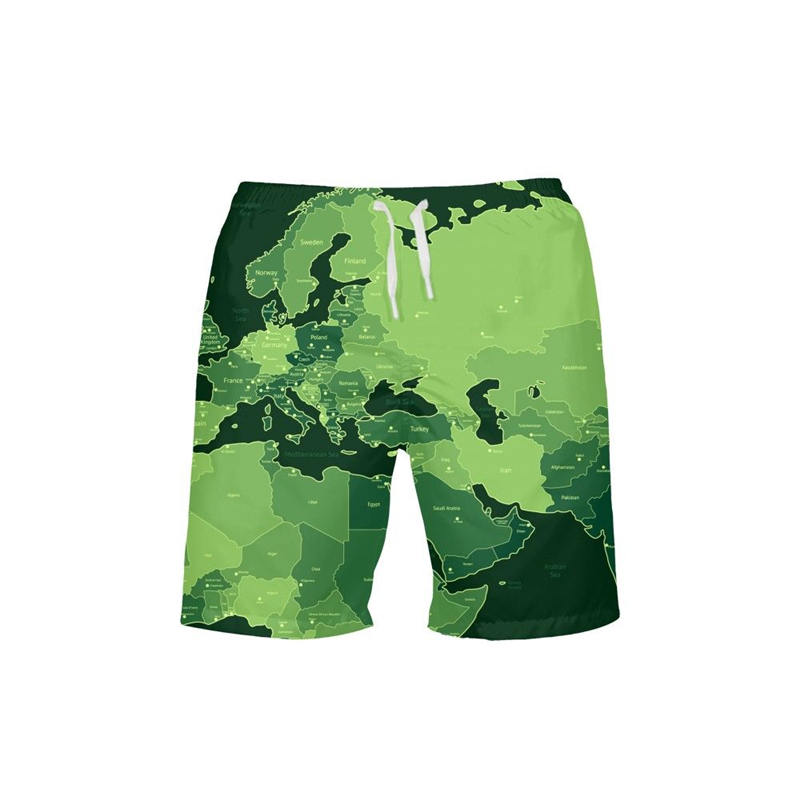 2019 Man Map Print Swimwear Trunks   Board   Swimming Beach   Short   Quick Drying Pants Swimsuits Mens Running Sports Surffing   Shorts