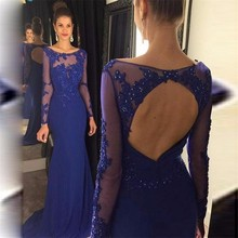 Langarm Prom Kleider 2017 Elegantes Königsblau Appliques Reizvolles Geöffnetes Zurück Chiffon-Nixe Formales Abendkleid Für Party Kleider