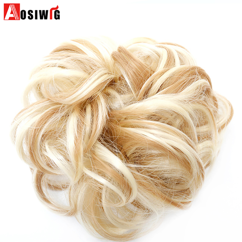 AOSIWIG Synthetic Curly Chignon Hairpiece For Women Elastic Scrunchie Extensions Hair Ribbon Ponytail Hair Bundles