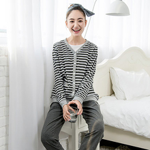 Autumn Winter Maternity Nursing Pajamas For Women Clothes Home Suit Striped 3 Pcs Cotton Maternity Nightgown