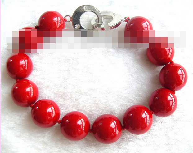 FREE SHIPPING>>>@@ > 03770 red round seashell pearls bracelet