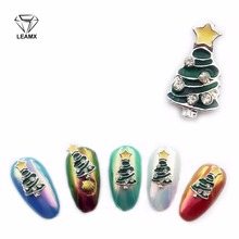 LEAMX 10pcs New Arrives Christmas Nail Art Decoration Glitter 3d 2018 Tree Advanced Design Alloy Jewelry Supplies