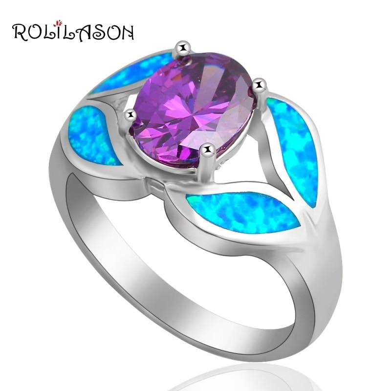 b173ec245261 Anillos de circón para mujeres cristal azul ópalo de fuego de plata anillo  de sello de EE. UU. Sz  6