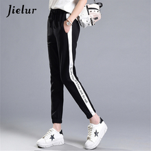 Spring Summer New Letters Printed Leisure Sweatpants Women Casual White Striped Black Pantalon Femme Drawstring Elastic Trousers