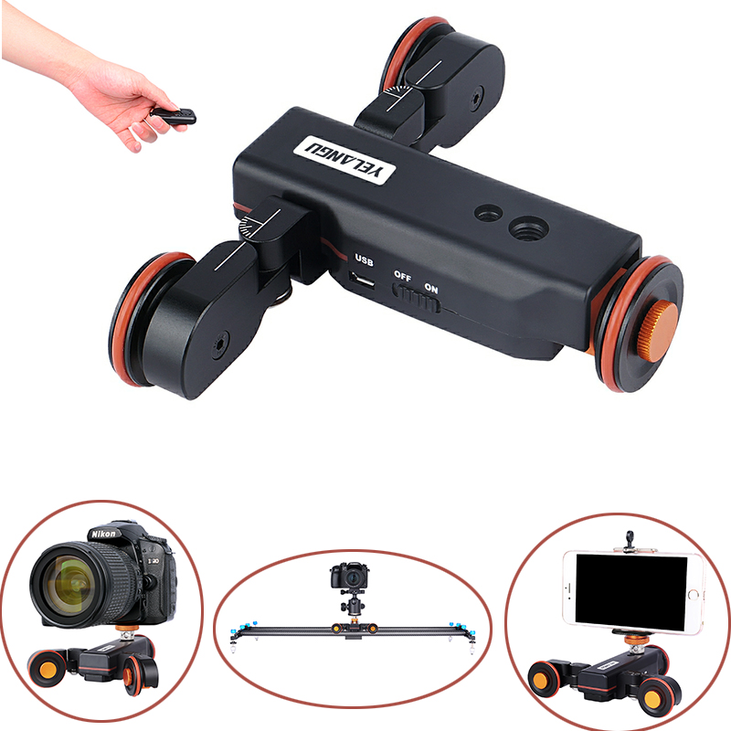 L4X Video Auto dolly Electric Slider Motorized Pulley Car Cine Rolling Skater with Wireless Remote for