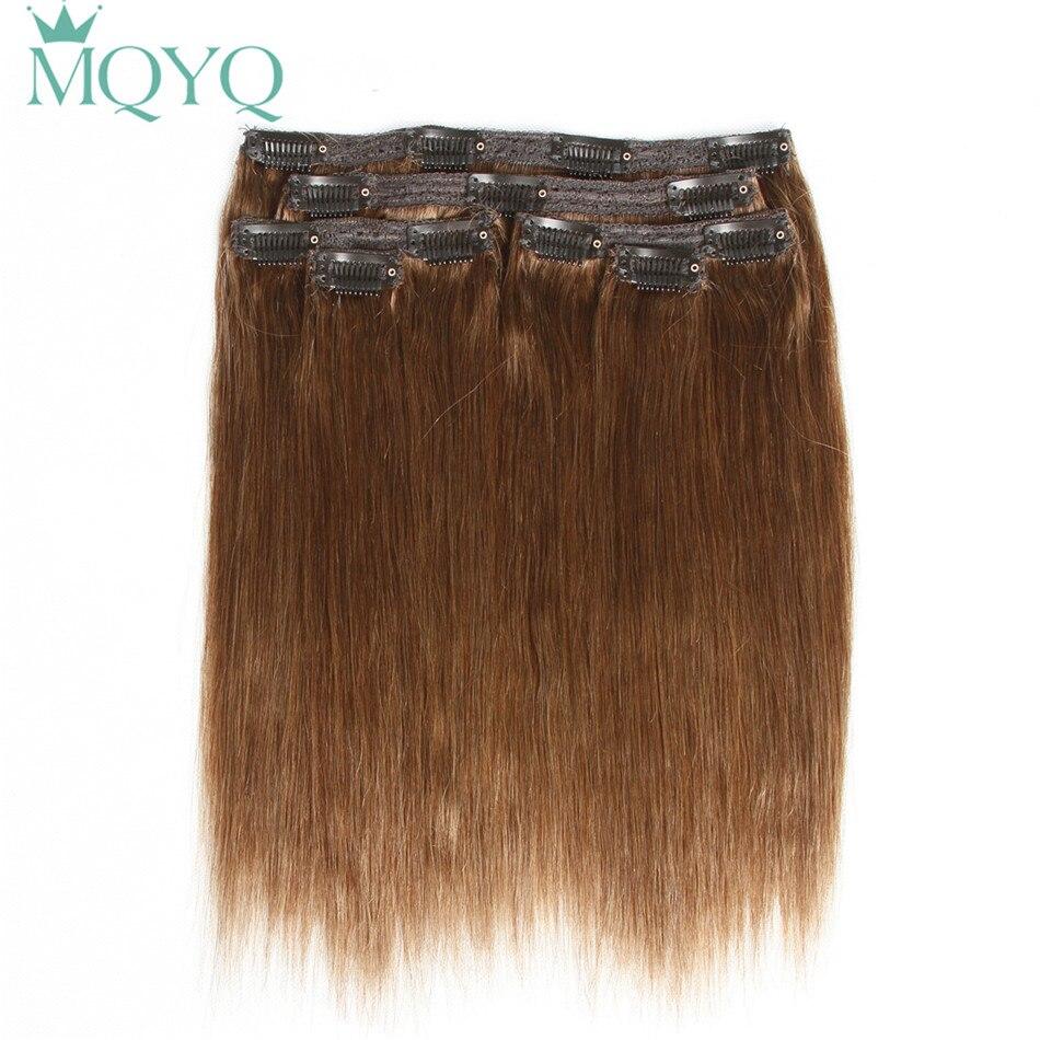 MQYQ Cheveux Raides Clip dans les Cheveux Extensions #3 Brun Clair 100% Vrais Cheveux Humains 6 pcs Brésiliens Clip sur Extension de cheveux