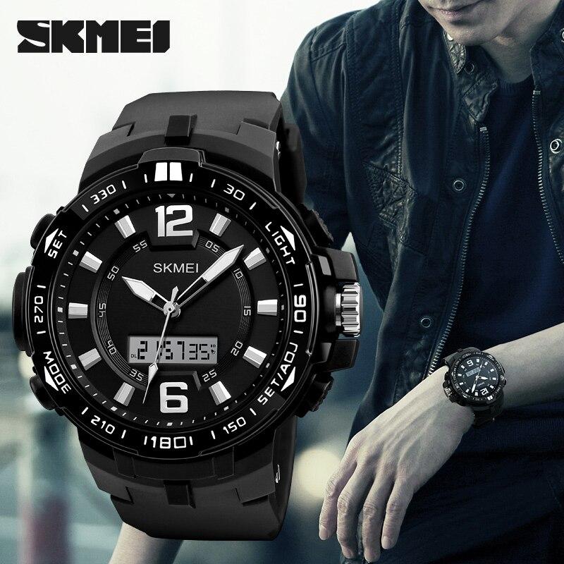 a132601d617 Água ao ar Digital de Dupla dos Homens Skmei Relógio de Pulso Luxo Exército  Relógios Desportivos à Prova d  Livre Afixação Masculino