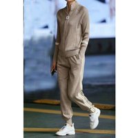 Autumn 2018 Casaul Tracksuit Women 2 Piece Set Shiny knitted cardigan And Pants Striped Zipper Sexy Sweatshirt Suit