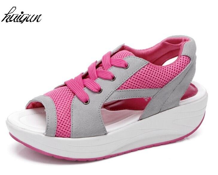 High Heels Wedge Slippers Women Summer Beach 2019 Leather Platform Shoes Women Sandals Brand Chaussures Femme Zapatos de Mujer