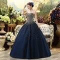 Cheap Quinceanera Vestidos Azul Royal Lantejoulas Beading Longo de Tule Vestido De 15 Años Debutante Vestido Sweet 16 Vestidos de Baile