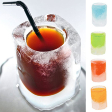 Creative 4 Grids Cup Ice Mold Silicone Cube Freeze Tray Makers Rectangle Shape Summer Drinking Tool