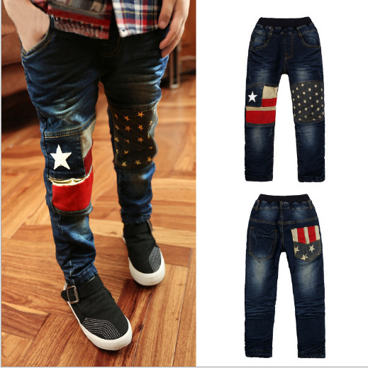 315ba816f Teenage Denim Pants for Boys Jeans Printed Trousers Kids Bottoms Child Denim  Trousers Infant Boys Star Jeans Pants