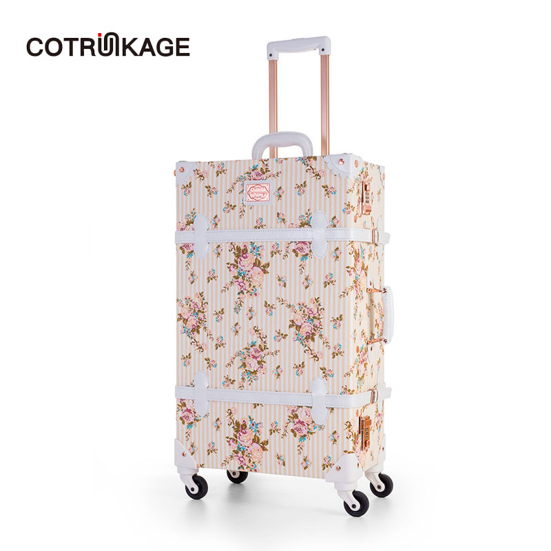 COTRUNKAGE Floral Valise 20 - 26 Designer Pu Leather Womens Vintage Suitcase Ladies Rolling Trunk Trolley Luggage with WheelsCOTRUNKAGE Floral Valise 20 - 26 Designer Pu Leather Womens Vintage Suitcase Ladies Rolling Trunk Trolley Luggage with Wheels