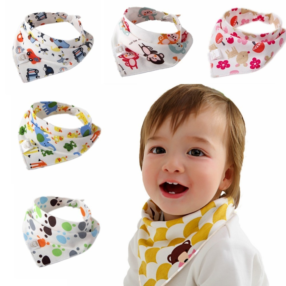 6 Pcs//set New Baby Bibs Toddlers Infant Cotton Waterproof Triangle Saliva Towel