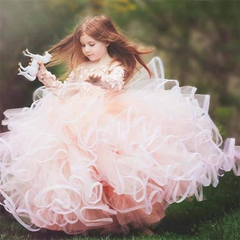 Luxury Flower Girl Dress with Floral Applique Fluffy Ruffles Long Sleeves Pageant Gown Custom Made Jewel Neck Vestidos de Fiest Luxury Flower Girl Dress with Floral Applique Fluffy Ruffles Long Sleeves Pageant Gown Custom Made Jewel Neck Vestidos de Fiest