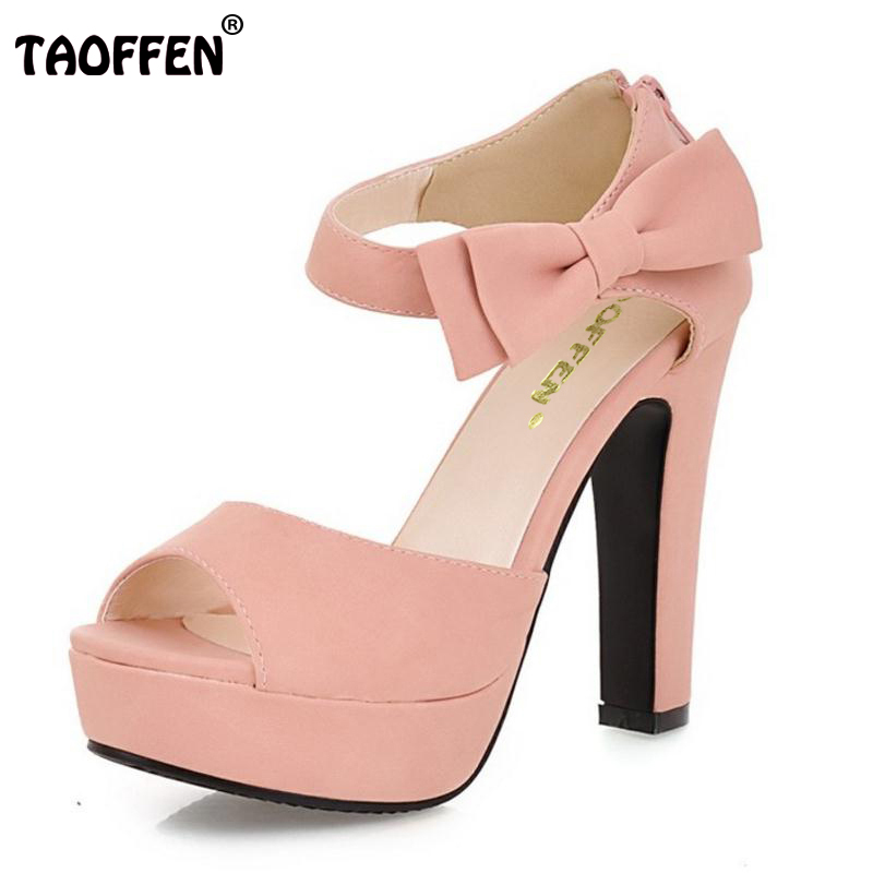 TAOFFEN Size 31-43 New Summer Peep Toe Ankle Strap Orange Sweet Thick High Heel Sandals Platform Lady Women Shoes odetina 2017 new fashion peep toe t strap sandals thick high heel platform buckle ladies square heel shoes summer big size 33 43