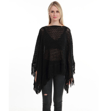 New Autumn Fashion Woman Poncho Hollow Tassel Loose Sweater For Women Pullover plus size Thin Sweater Loose Shawl plus size fringed zigzag poncho sweater