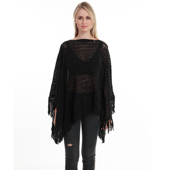 New Autumn Fashion Woman Poncho Hollow Tassel Loose Sweater For Women Pullover plus size Thin Sweater Loose Shawl