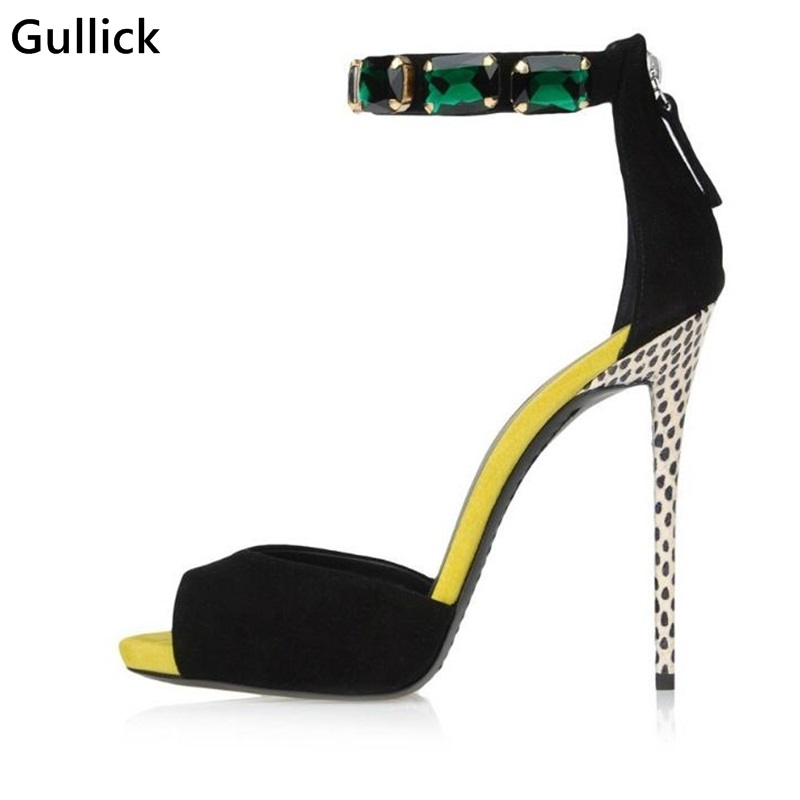 Luxurious Blue Jewelry Decor Ankle Wrapped Woman Sandals Bicolor Black Dot White High Thin Heels Boots Night Club ShoeLuxurious Blue Jewelry Decor Ankle Wrapped Woman Sandals Bicolor Black Dot White High Thin Heels Boots Night Club Shoe