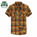 Falow AFS JEEP 3XL/4XL Plus Size Plaid Pure Cotton Short Sleeve Shirt,Summer 2016 Casual Cotton Camisas para hombres.