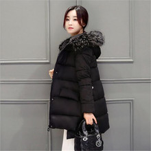 2016 Winter New Women Hooded Fur collar Medium long Cotton Down Jacket Korean Loose Large size