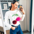 Autumn New Colorful Plush Ball Sweatshirt Women Casual Hoodies Puffer Ball Casual Tops Long Sleeve Pullover Sweat Femme