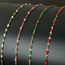 Colorful Beads Necklace Beads Chain For Jewelry Making 10m Stainless Steel Chain Women Bracelet Necklace DIY Chain Wholesale(China)