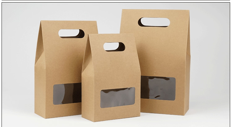 DHL 150Pcs 10 5 15 6cm Bottom Stand Up Kraft Paper Handle Storage Bags With Clear