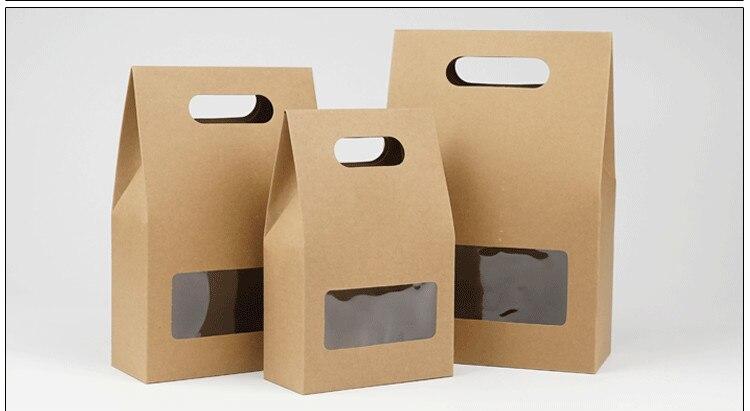 DHL 150 stks 10.5*15 + 6 cm Bottom Stand Up Kraftpapier Handvat Opbergzakken Met Clear Window voor Noten Voedsel Snack Doypack Zakjes-in Geschenktasjes & Inpak Benodigheden van Huis & Tuin op  Groep 1
