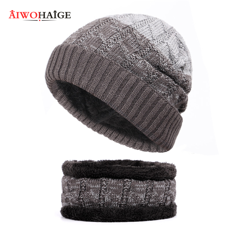 New knitted men's hats plus velvet thick warm and comfortable men's winter caps unisex bib two-piece mask slouchy   beanies   gorros