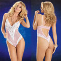 Women Sexy Lingerie Mesh Lace White+Pink Three Point Embroider Teddies S68804