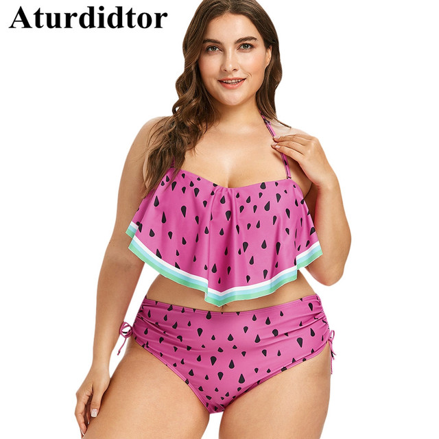 1e444a4b41 Plus Size Bikini Set Fruit Watermelon Print Swimwear Two Piece Swimsuit  Large Size Bathing Suit Bodysuit Ruffle Beach Wear 2018