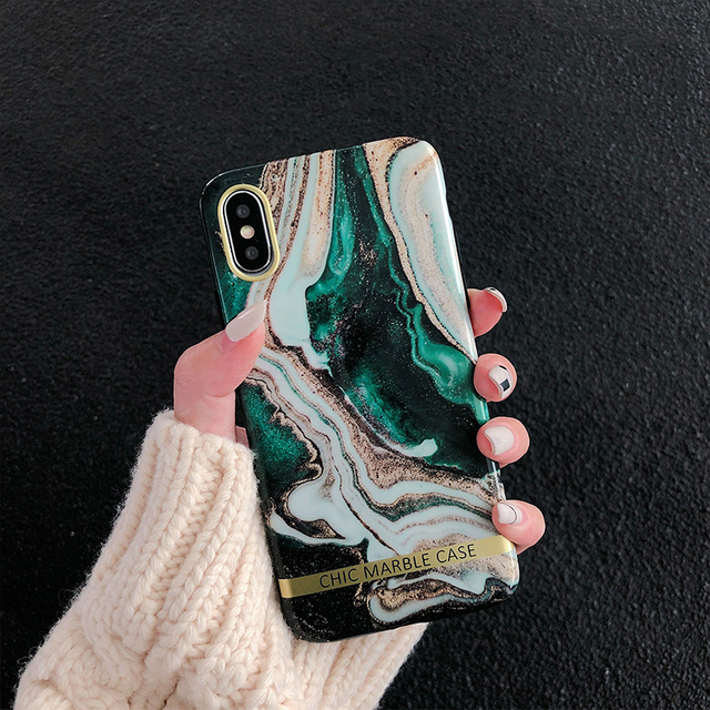 Glossy Soft Silicon Agate Marble Case For iPhone
