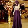 2016 Muçulmanos Vestidos de Noite A Linha de Mangas Compridas Roxo Bordado Hijab Islâmico Dubai Abaya Kaftan Longa Noite Vestido de Baile Vestido