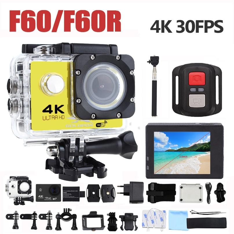 Goldfox F60 f60r 4 К Wi-Fi действие Камера 16mp 170d Спорт DV 30 м Go Водонепроницаемый Pro Экстремальные виды спорта видео велосипед шлем автомобилей Cam DVR