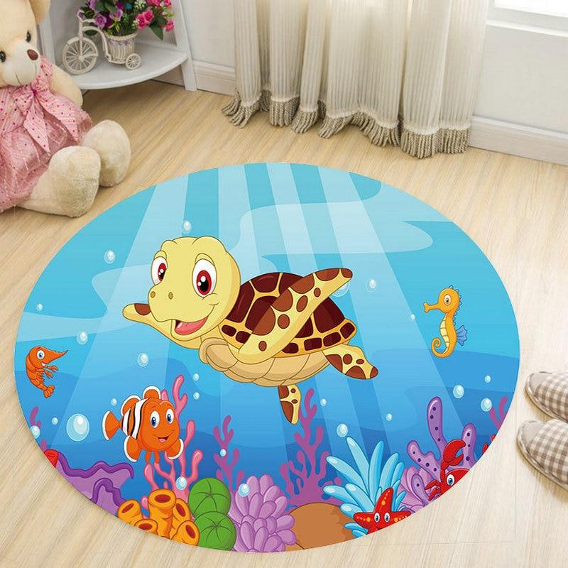 Cartoon 3D Animal Round Carpets for Kids/Children Living Room Bedroom Bathroom Home Lovely Deer Chair Floor Mats Parlor Rugs