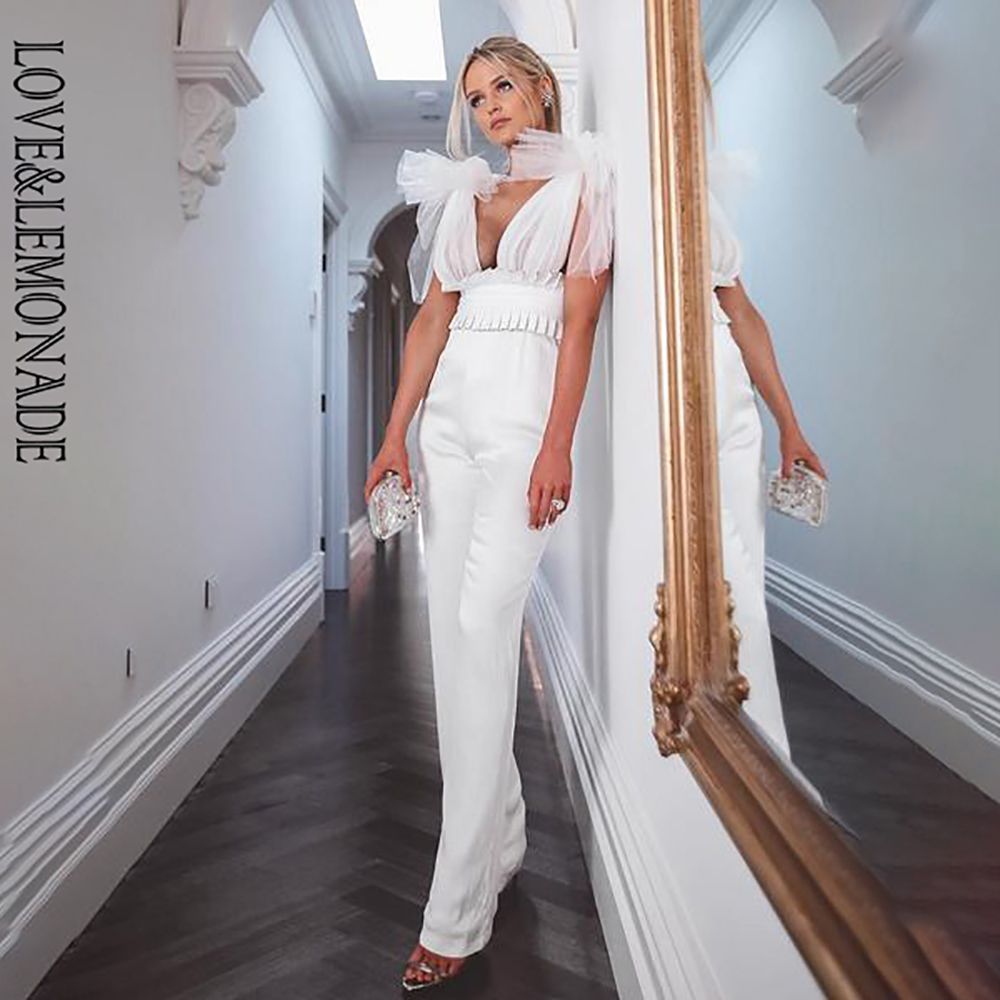 LOVE&LEMONADE Sexy White V-Neck Upper Body Mesh Straps High Waist Fit Jumpsuit LM90006