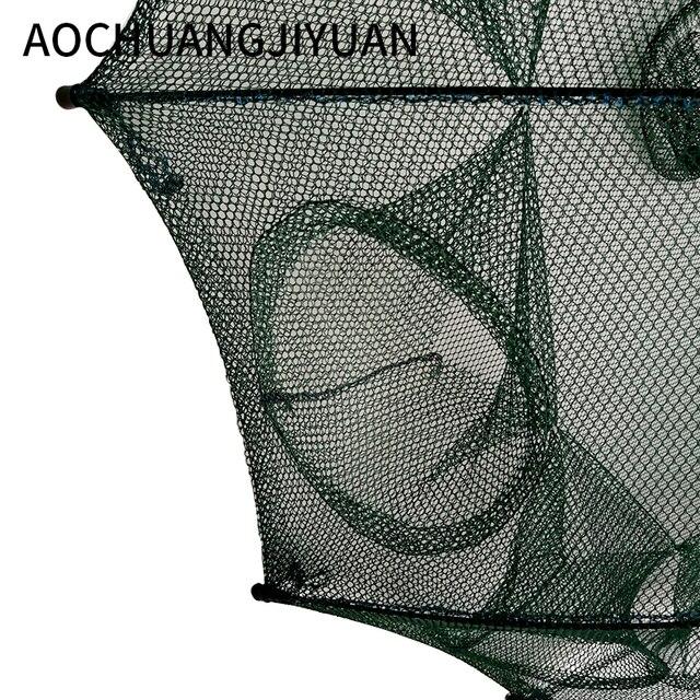Folded Portable Hexagon 4/6/8/10 Hole Automatic Fishing Shrimp Trap Fishing Net Fish Shrimp Minnow Crab Baits Cast Mesh Trap 4